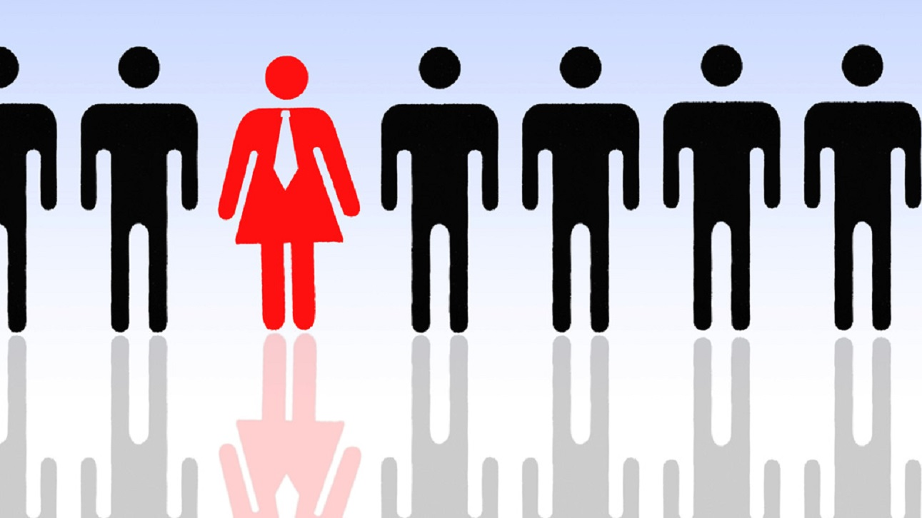 Pictogram of a woman with a tie and men, symbolic image for women's quota